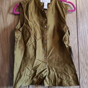 💙green 100% silk sleeveless blouse